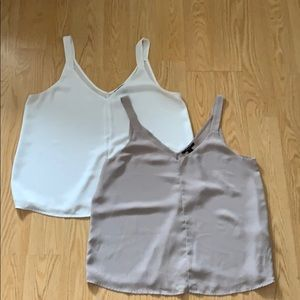 Chiffon Camis (white and taupe) L